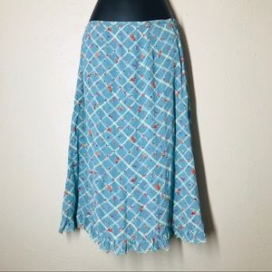 Vintage Free People windowpane plaid ruffle skirt